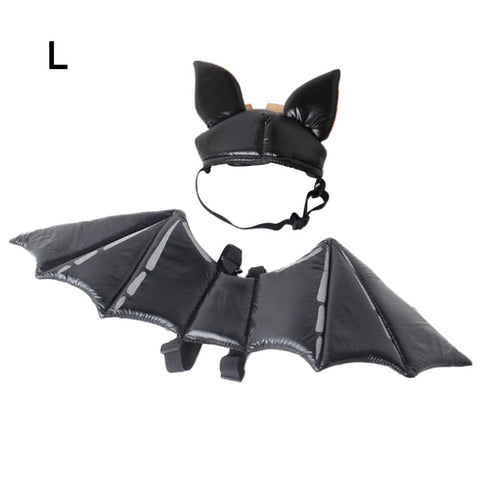 Halloween Pet Cat Costume Party Hat Set Bat Wing
