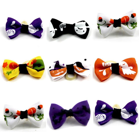 Halloween Dog Rubber Bands Hair Bowknot Headwear For Pets