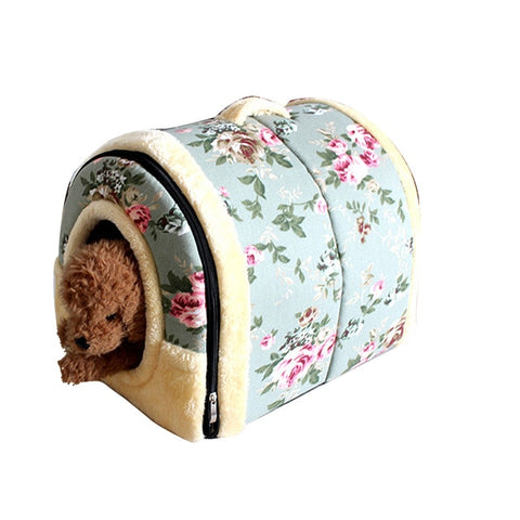 Warm Pet Dog House Foldable Dog Bed Cushion Detachable Soft Cat Puppy Kennel House