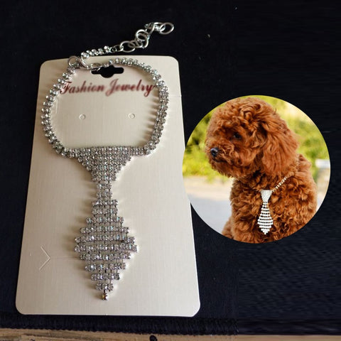 Dog Necklace Rhinestone Tie Bling Doggie Boutique Pet Products