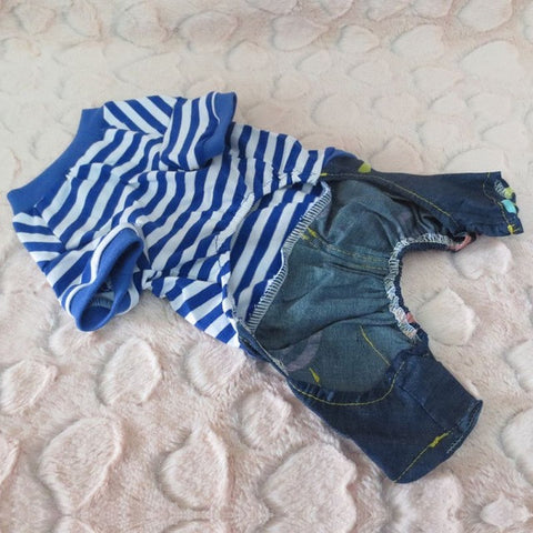 Pet Clothes Cowboy Denim Jeans Clothes for Dogs Dog Jumpsuits or Rompers Products for Cats Dog  Striped clothes