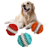 Pet Dog Puppy Chew Food Treat Dispensing Holder Rubber Ball Dental Toy