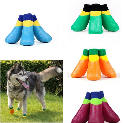 4pcs/set Dog's Rubber Cotton Anti Slip sock for puppy