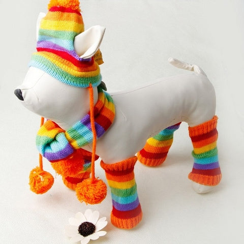 Autumn Winter Pet Products Dog Clothes Stripe Knitted Hat Scarf Dog Coats
