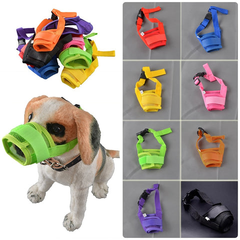 1PC Mesh Breathable Adjustable Dog Muzzle Anti Bark Bite