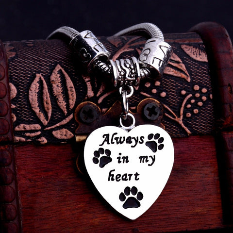 Charm Love Beads Always In My Heart Bracelet Paws Print Dog Tag