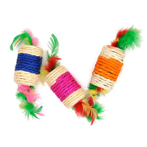 Hot Sale! Pet Cat Toys Rolling Sisal Scratching  Feather Toys