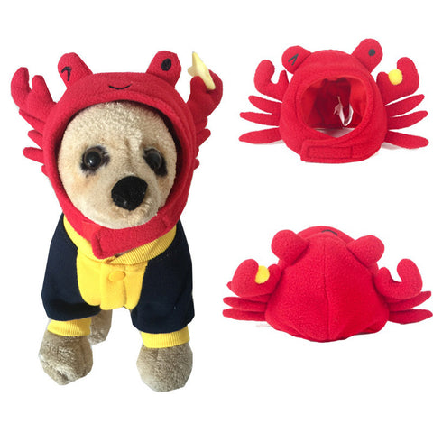 Pet Dog Cat Hat Funny Puppy Interesting Halloween Party Costume Cartoon Crab Cap Red Pet Accessory Headwear