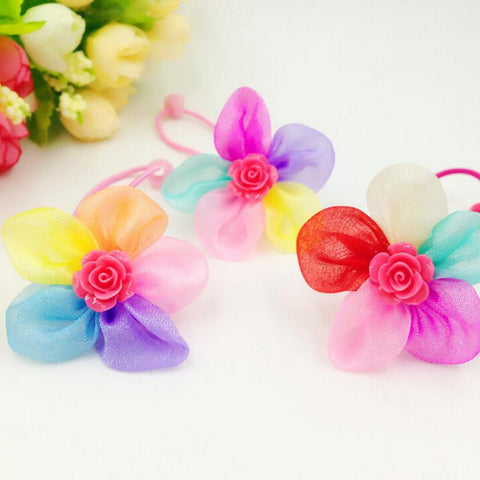 Rubber Bands Petal Flowers Bows Pet Dog Hair Bows  With Bead