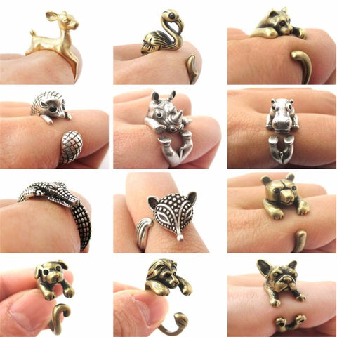QIAMNI Cute Animal Cat Wolf Lion Rabbit Horse Dog Elephant Crocodile Fox Dinosaur Ring