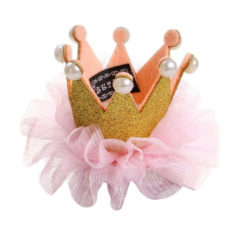 Dogs Accessories 1PC Hair Clips Headdress Hairpin Laced Crown Birthday Grooming For Pet Puppy Cats