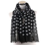 OLOME Women Cartoon Dog Footsteps Printing Scarf