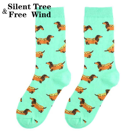 Funny Women Dachshund Crew Socks Novelty Fashion