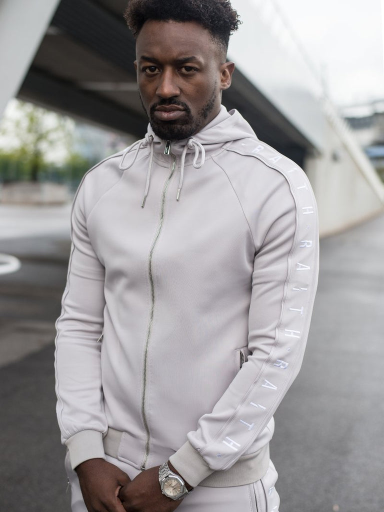 HOODED TRACK TOP LIGHT GREY & WHITE