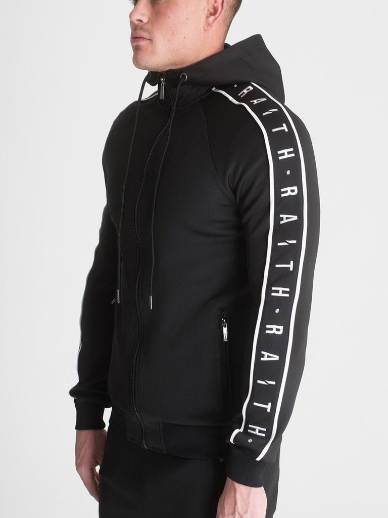 HOODED TRACK TOP BLACK & WHITE