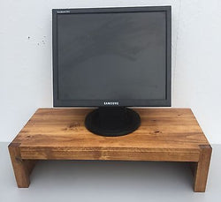 TV Riser Stand Modern Rustic Solid Wood with Medium Finish