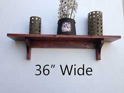 Wall Shelf Rustic Style Solid Wood with Cherry Finish