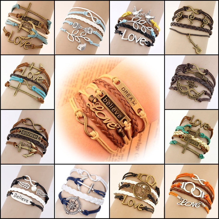 Hand Made Vintage Multi layer Leather Charm  Bracelet 18 options to choose from