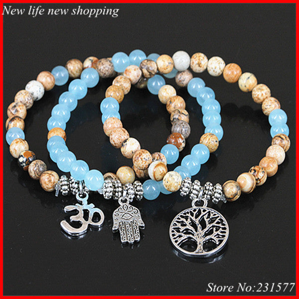 3pcs  Jasper and Blue Agate Bead  OHM,Hamsa,Life Tree Charm Yoga Bracelet