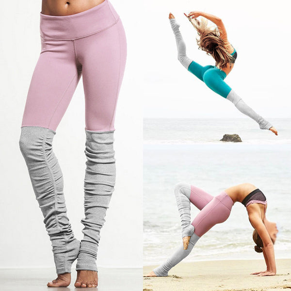 6 colors Women Sports Elastic Rib Patchwork Bodybuilding Yoga Pants