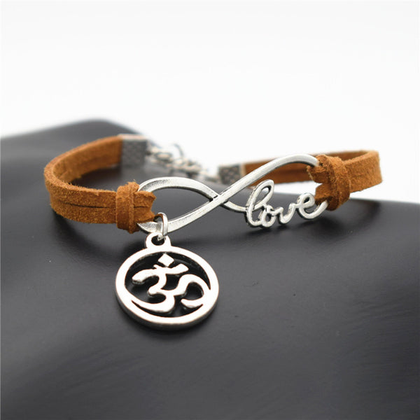 Fashion Women OL Style Handmade Beautiful Girls Xmas Gift 2016 Love Infinity OM AUM OHM Symbol Yoga OHM Charms Leather Bracelet