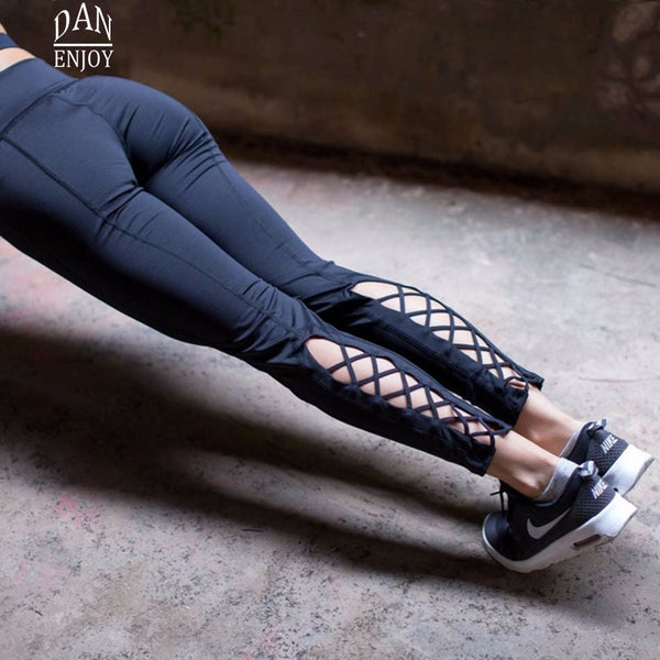 Compression Yoga Pants Women Cross  Cutout Tie Cuff