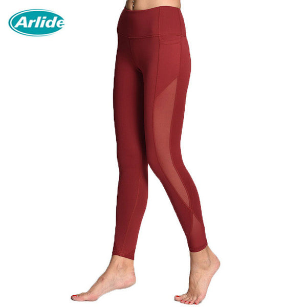 Arlide Women Yoga Compression Pants Mesh Leggings Pants Elastic