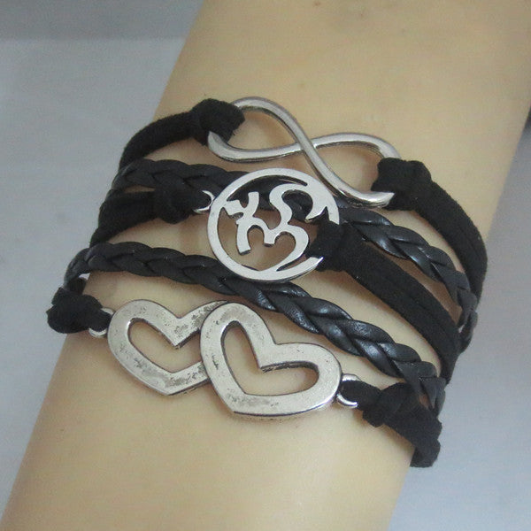drop shipping infinity double heart and OHM bracelet charm om bracelet black leather and wax bracelet fashion lewelry