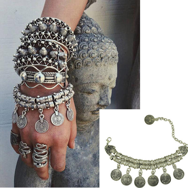 Bohemain Coin Bracelet Thick Bohemian Moon Child Turkish Silver Antalya Bracelet Moon Gypsy Beachy Chic Festival Silver Coin