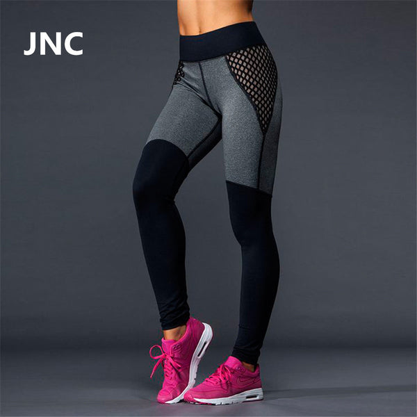Cute Black Leggings Mesh Yoga  High Elastic Grey High Waist Running Tights Quick Dry