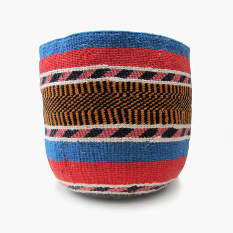 Woven Basket - Blue / Pink / Orange