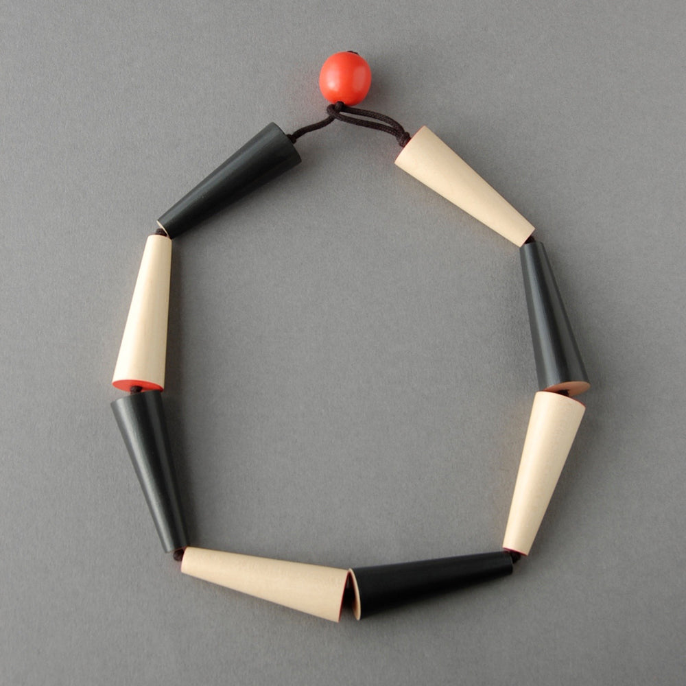 Cone Necklace / Black and Natural Sycamore with black cord