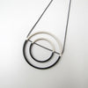 Porcelain Pendant Necklace Double Hoop