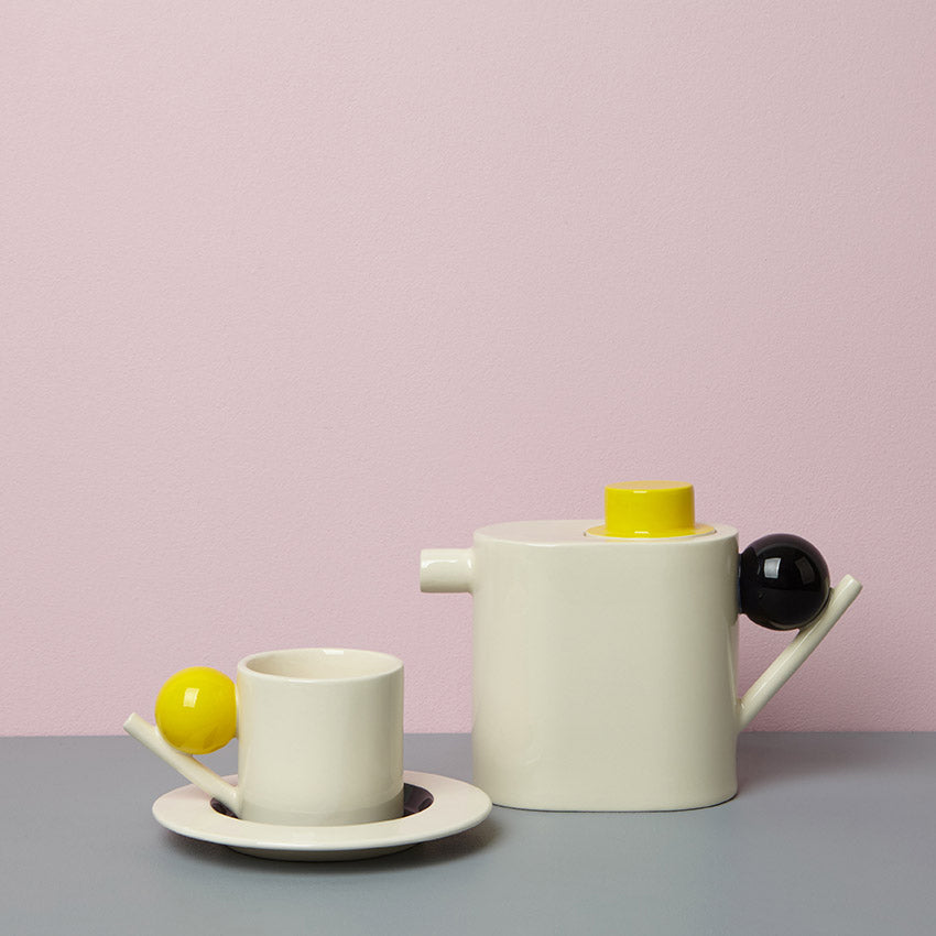 Geometric Tea Pot - yellow/black