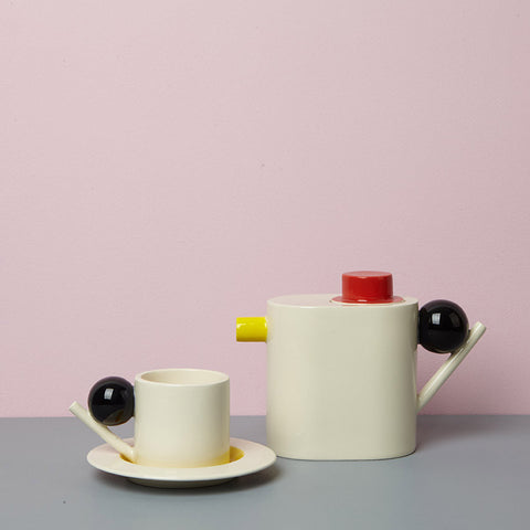 Geometric Tea Pot - yellow/red/black
