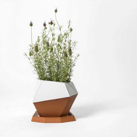 Large Geometric Pot with Tray