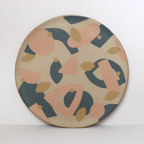 INLAY Plate / Green, Peach, Ochre