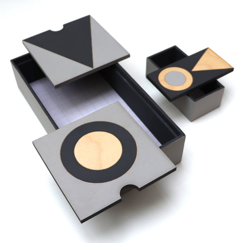 Long Charcoal and Grey Ply Boxes