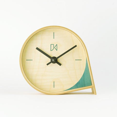 Maple Mantle Clock in Teal