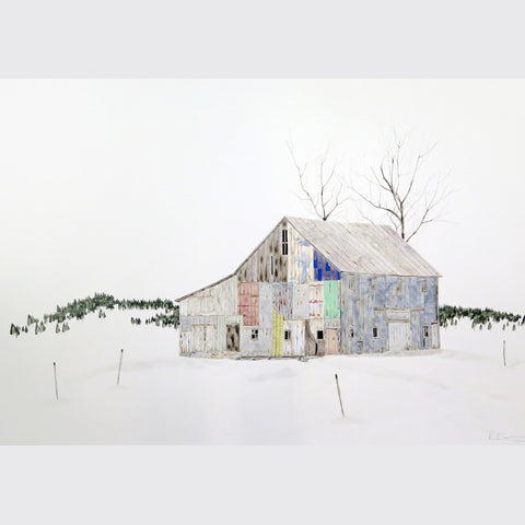 Patchwork Barn with Trees