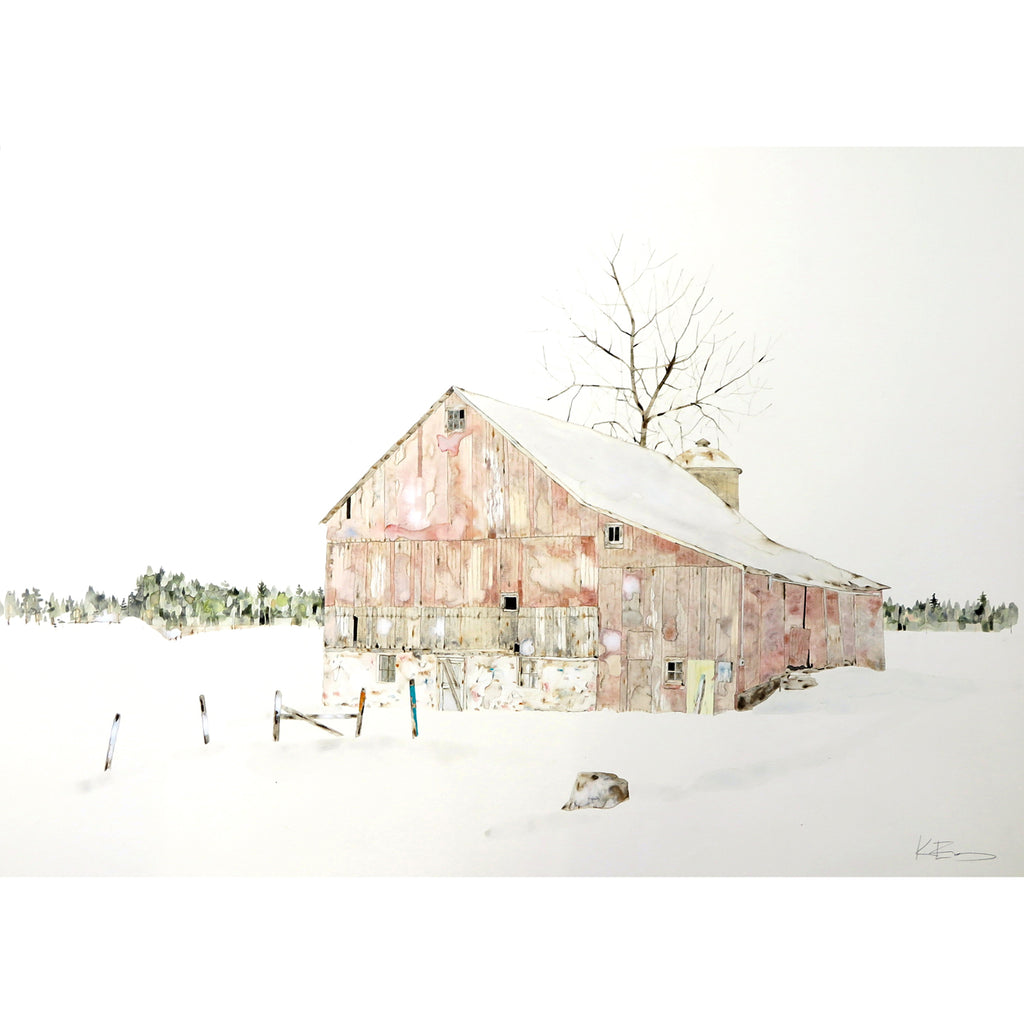 Pink Winter Barn