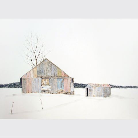 Pink Cabin in the Snow