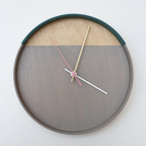 Plywood Clock Grey and Teal