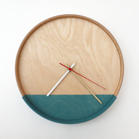 Plywood Clock Teal 4-8