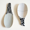 Large Porcelain Spoon Black and Green Stripes