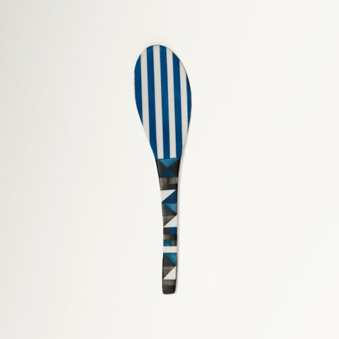 Medium Porcelain Spoon Black and Blue