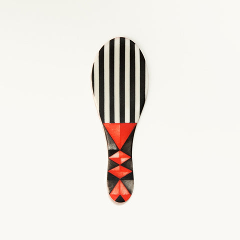 Small Flat Porcelain Spoon Black and Red