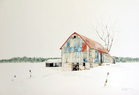 Red & Turquoise Barn in Snowdrift