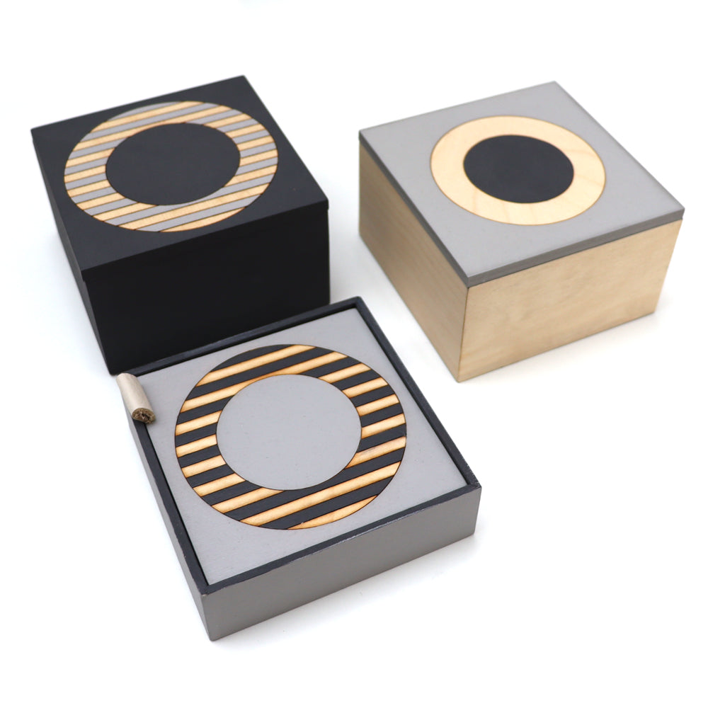 Square Charcoal and Grey Ply Boxes