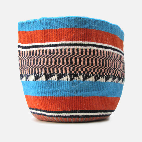 Woven Basket - Blue / Orange / Pink
